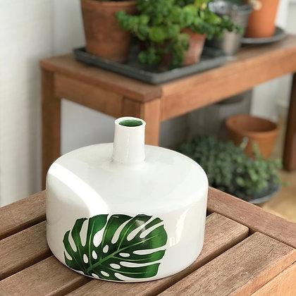 Vase céramique avec motif feuille de monstera - couleur blanc - urban jungle