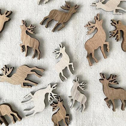Rennes en bois pour décoration hiver