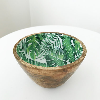 Bol en bois de manguier et émail motif feuilles exotiques