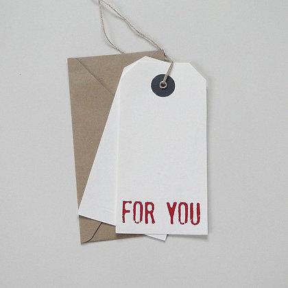 """Etiquette cadeau géante """"for you"""""""