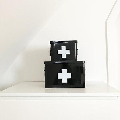 Boites à pharmacie noir croix blanche 2 modèles