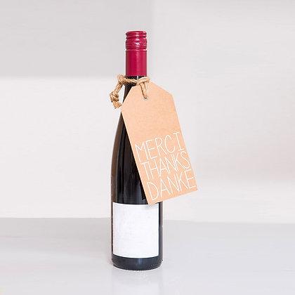 Etiquette cadeau tag géante Merci pour bouteille de vin