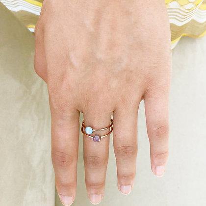bagues laiton doré rose strass Swarovski - modèle Elijah - blue opal violine