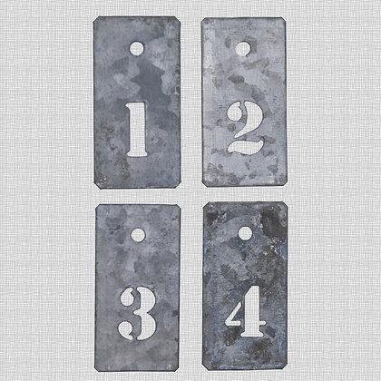 Etiquettes métal chiffres 1 à 4