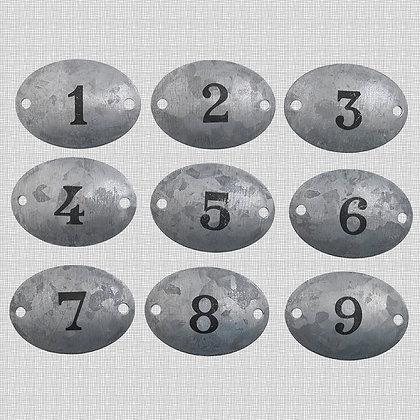 Plaques en métal patiné zinc chiffres 1 à 9