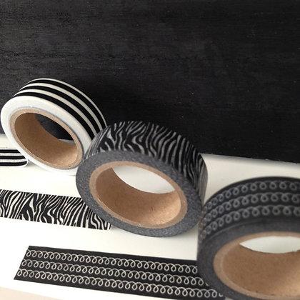 Masking tape noir et blanc rayé