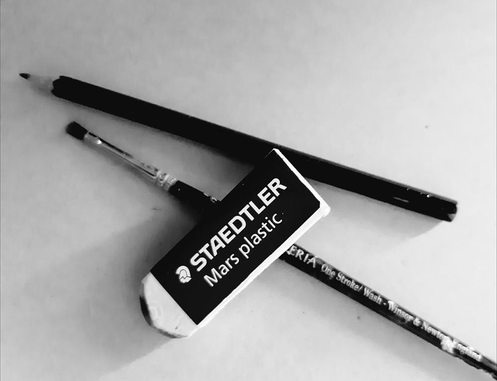 Pencil, brush and eraser