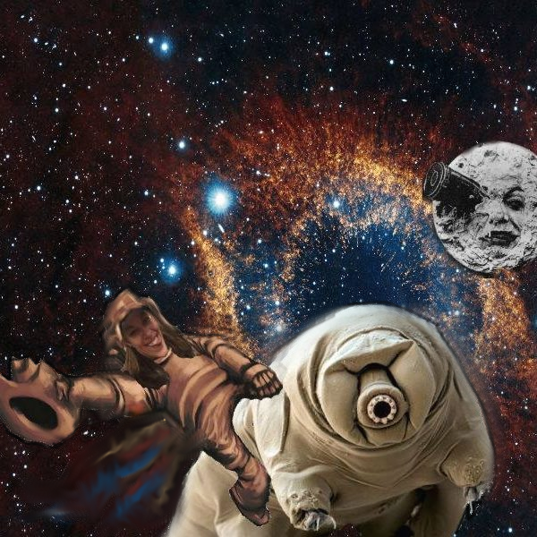 A cartoon picture of what does astrobiology mean. A cowboy astronaut riding a tardigrade through space to the man in the moon.