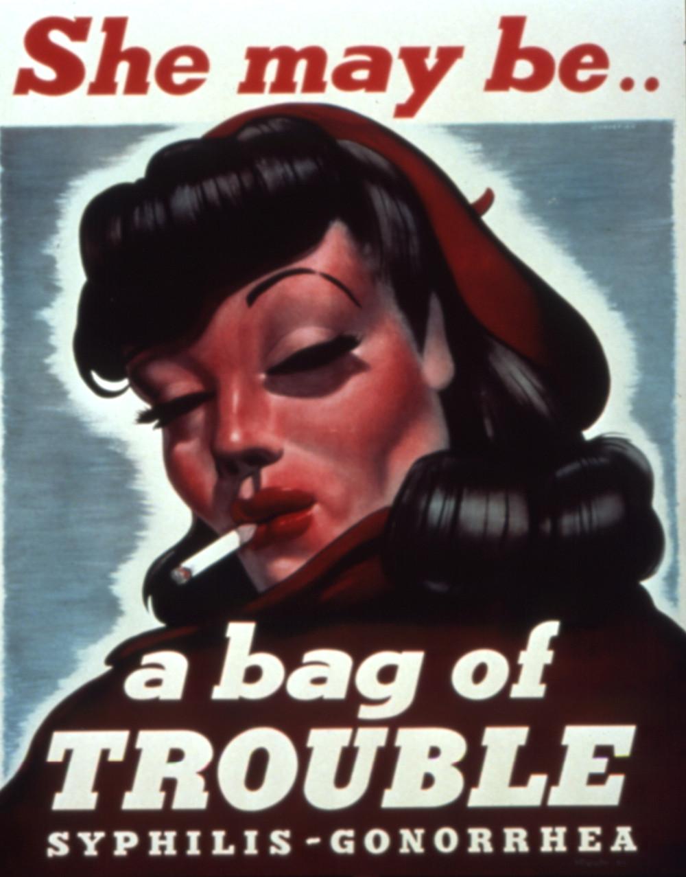 WWII anti-venereal disease poster- bag of trouble