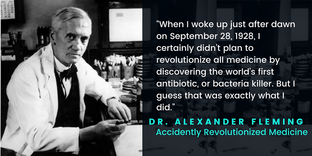 """Quote by Alexander Fleming on his discovery of penicillin. The quote states: """"When I woke up just after dawn on September 28, 1928, I certainly didn't plan to revolutionize all medicine by discovering the world's first antibiotic, or bacteria killer. But I guess That was exactly what I did""""."""