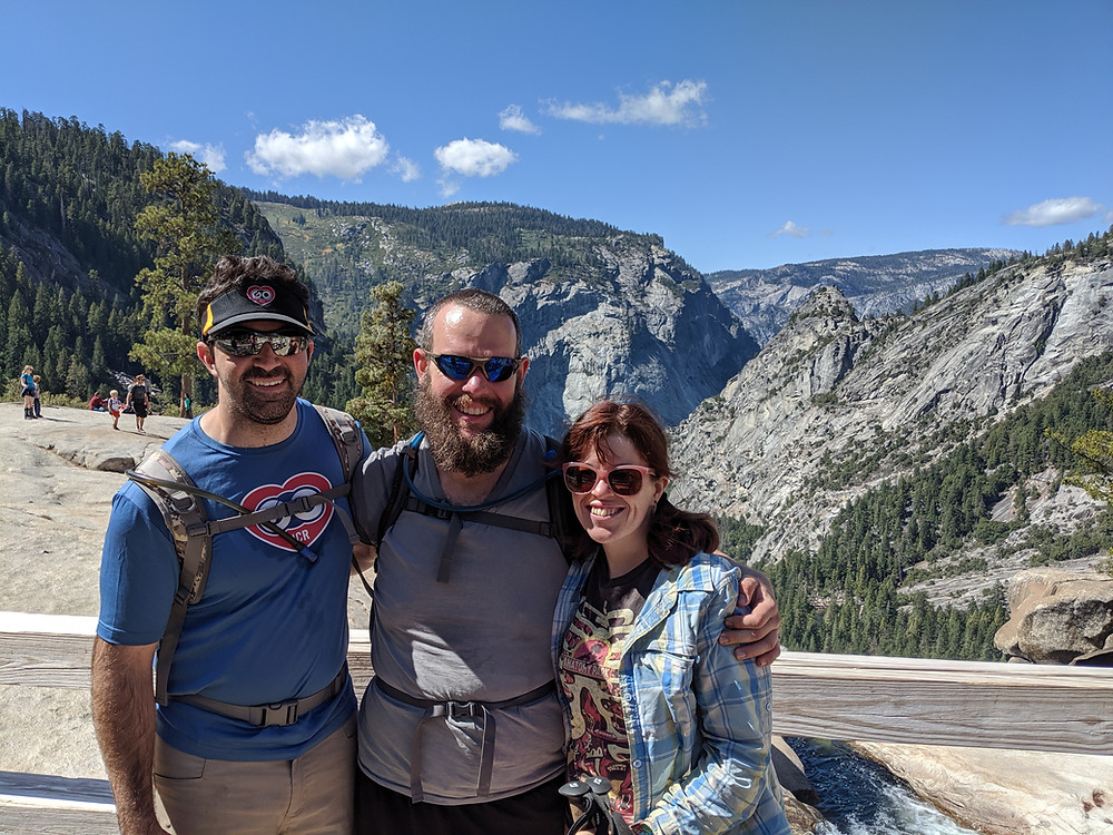 Picture of Microbigal's Jon and Tess with Guest speaker Stephen Bolaris at Yosemite Park.