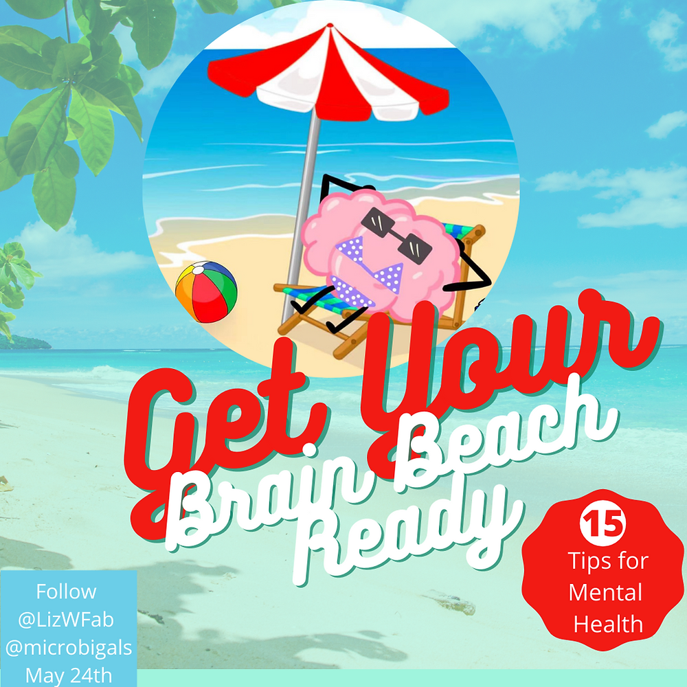 Cover photo for the article How to Improve your mental healtha nd get you brain beach ready. The picture is of a brain wearing a bikini on the beach relaxing.