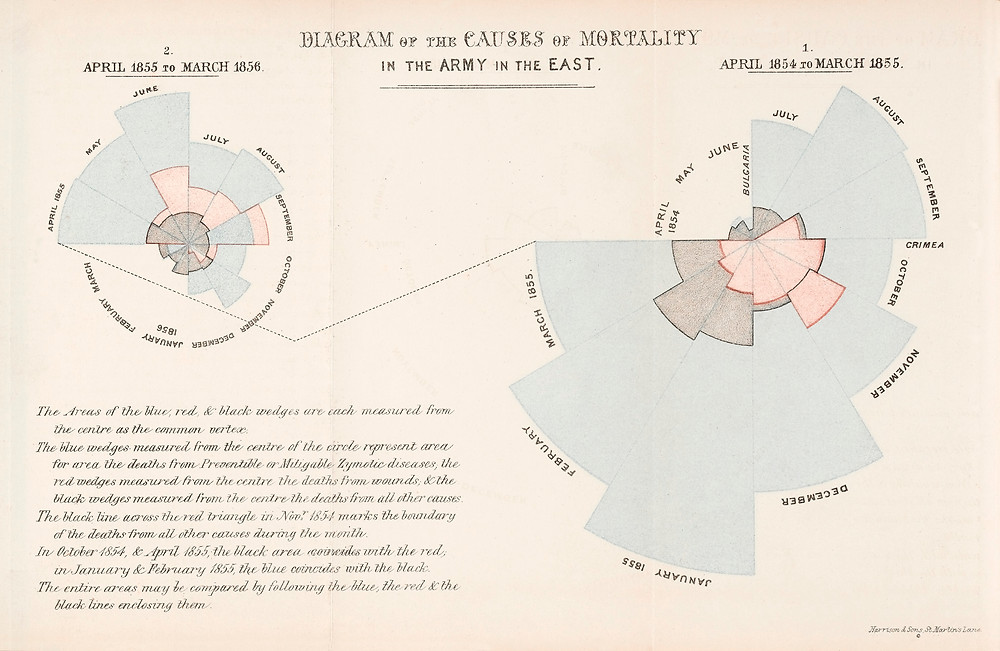 Florence Nightingale diagram dated 1858. Death in the British Army.