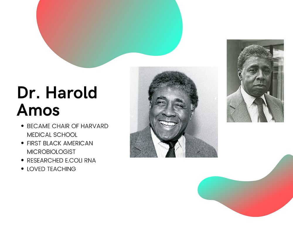 Dr. Harold Amos, first black microbiologist, teacher, and researcher