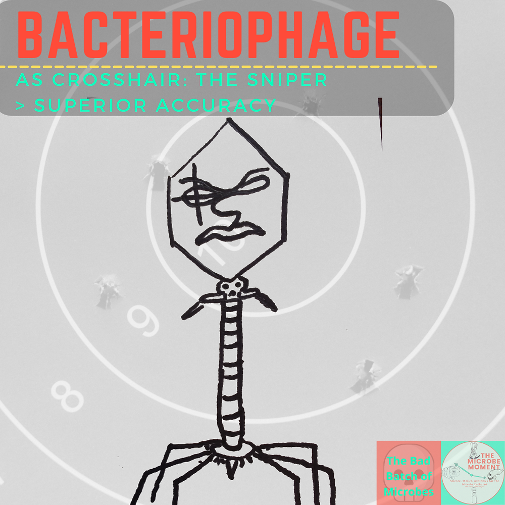 A drawing of a bacteriophage with the iconic sniper cross on his eye found on the sharpshooter, Crosshair, the marksman for Clone Force 99