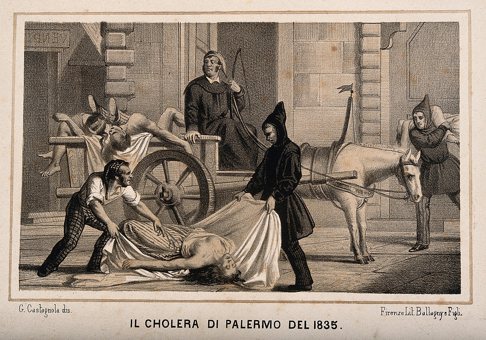 Artwork of Cholera victims