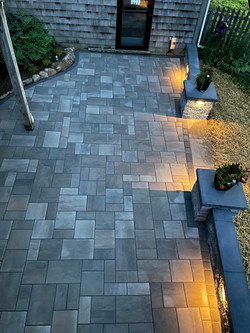 patio showing lights at dusk