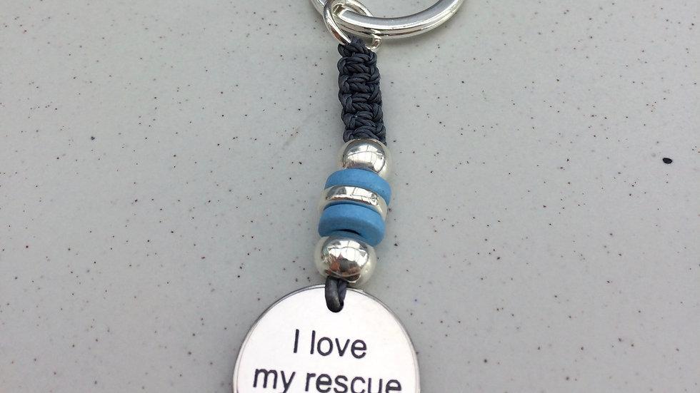 I Love My Rescue Dog Keyring