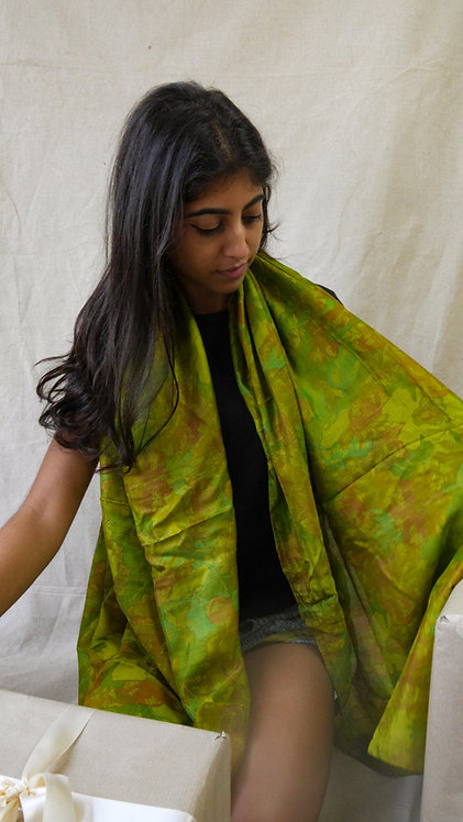 Multi-Green Silk Scarf
