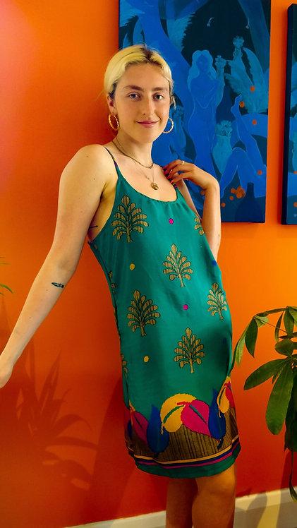Silk Leaf Print Silk Shift Dress: Multiple Fabric Options