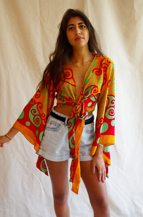Vintage Print Butterfly Wrap Top: Multiple Fabric Options