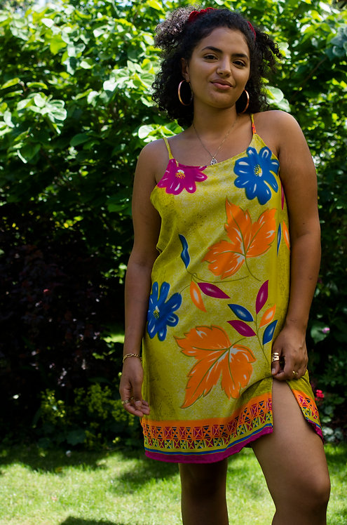 Silk Floral Shift Dress (Size S: Multiple Fabric Options