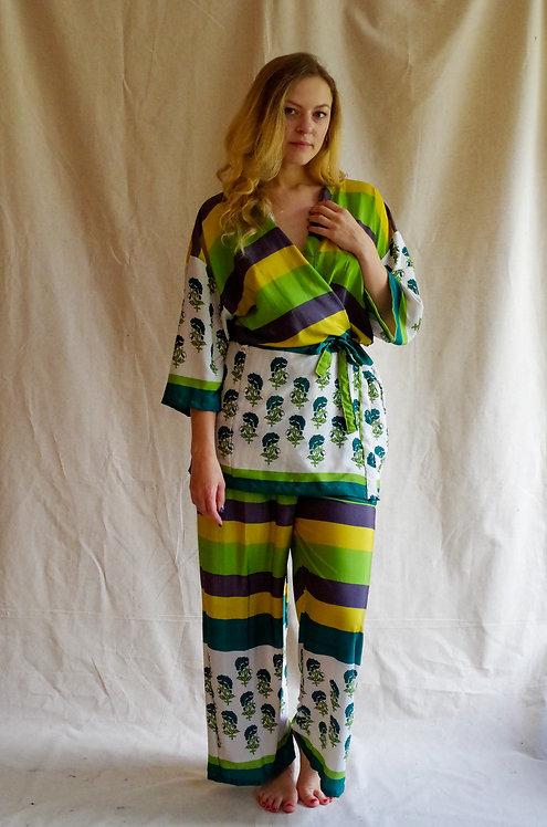 Lime Stripe Kimono/PJ set