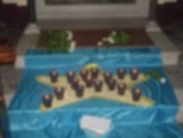 candele con il nome dei bimbi accese