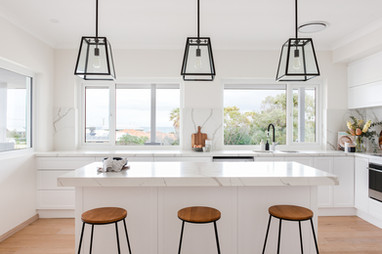 Veda Stone Shaker Kitchen by Gathering Light with sea view