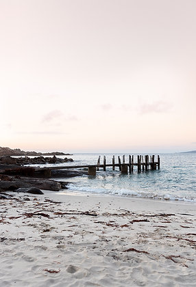 Fine Art print Jetty. Canal Rocks jetty sunset, a soft dusk pink scene perfect for interiors with black, blush, cream, blue