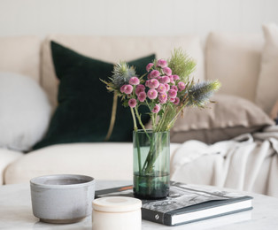 Flowers In Netural Lounge Room