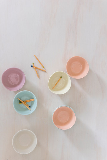 Product Photography by Gathering Light. Styled small, coloured, handmade ceramic bowls.