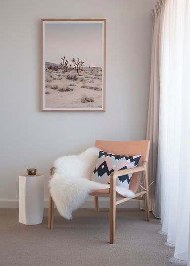 Perth Interior Photograhy by Gathering Light. Pink bedroom interior photo of a blush leather chair.