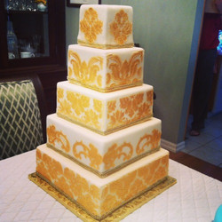5-tier Gold Damask Wedding Cake