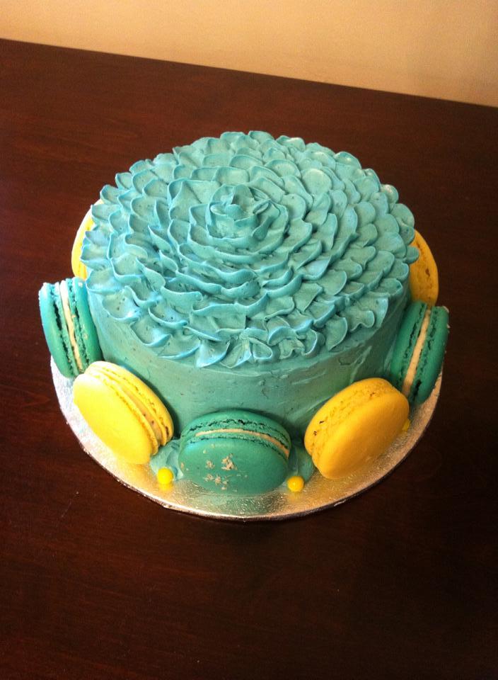 Red Velvet Teal Macaroon Cake
