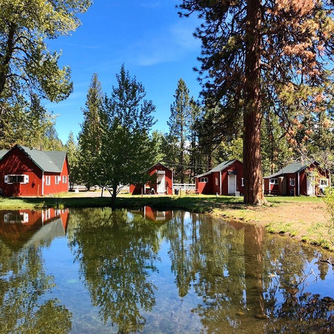 View from the pond to Cabin 1-4 and Cabin 6