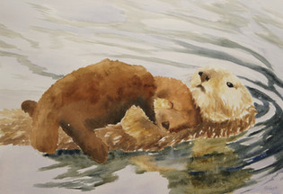 Otter mom and babe