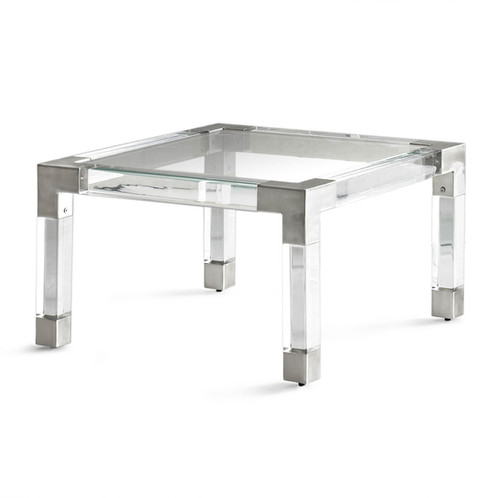 The Jacques Lucite And Nickel Coffee Table Features A Lucite® Frame And Brushed  Nickel Details With Protective Coating.