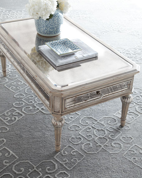 The Dresden Mirrored Coffee Table Is Made Of Select Hardwoods In An Antique Cream Finish With Silvery Accents Antiqued Glass Panels Surround