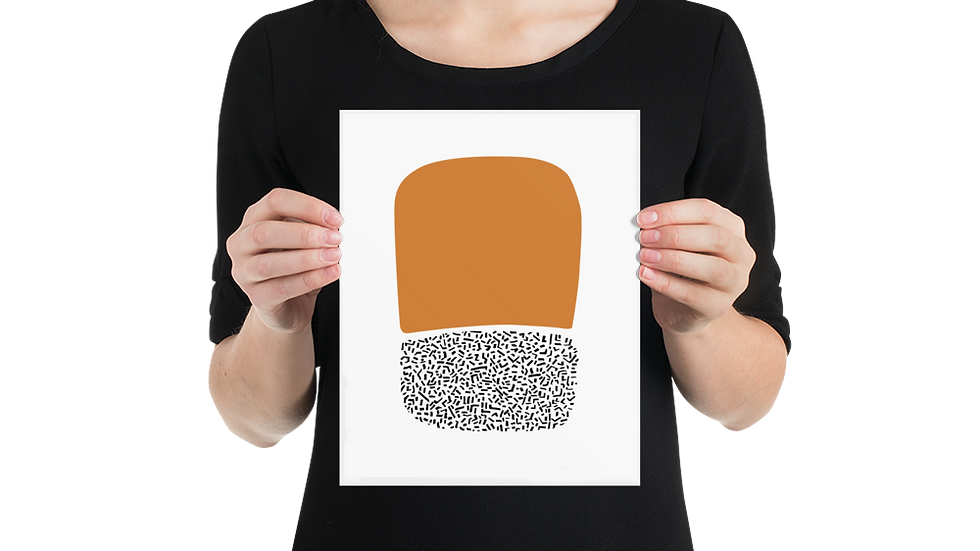 Poster Print: Modern burnt orange abstract art print on paper, 8x10 to 24x36