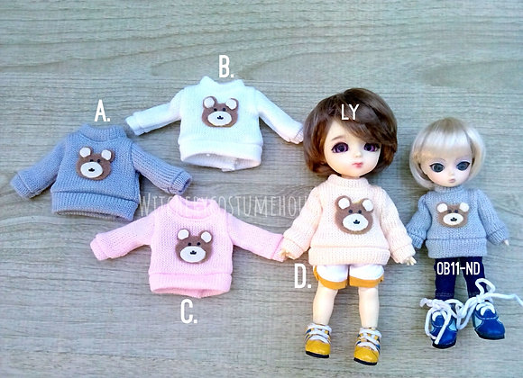 Knitted Sweater with bear : wootd042 : Ob11 | Nendoroid DolL