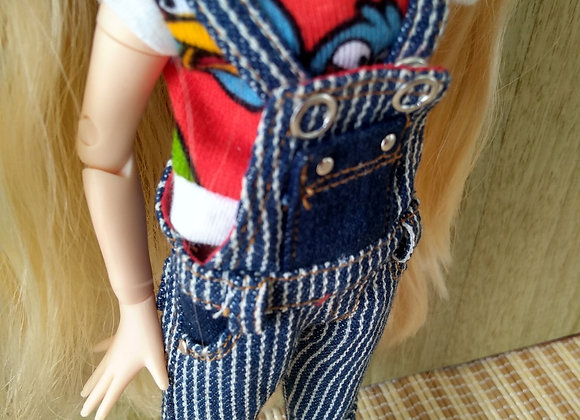 Denim stripped girly overalls: wootd027: NB/PureNeemoS/Pullip