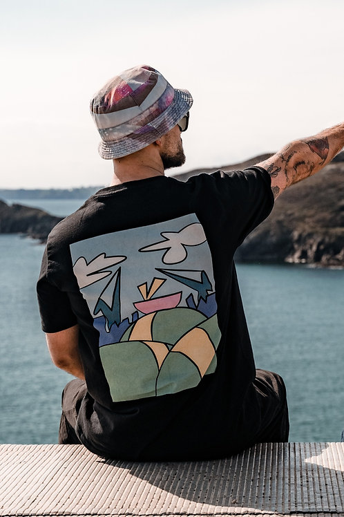 """Tshirt noir """"Les grues du port"""""""