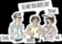 Yanto, Nat, Craig, Mentawais Surf Trip, Character Surf Illustration