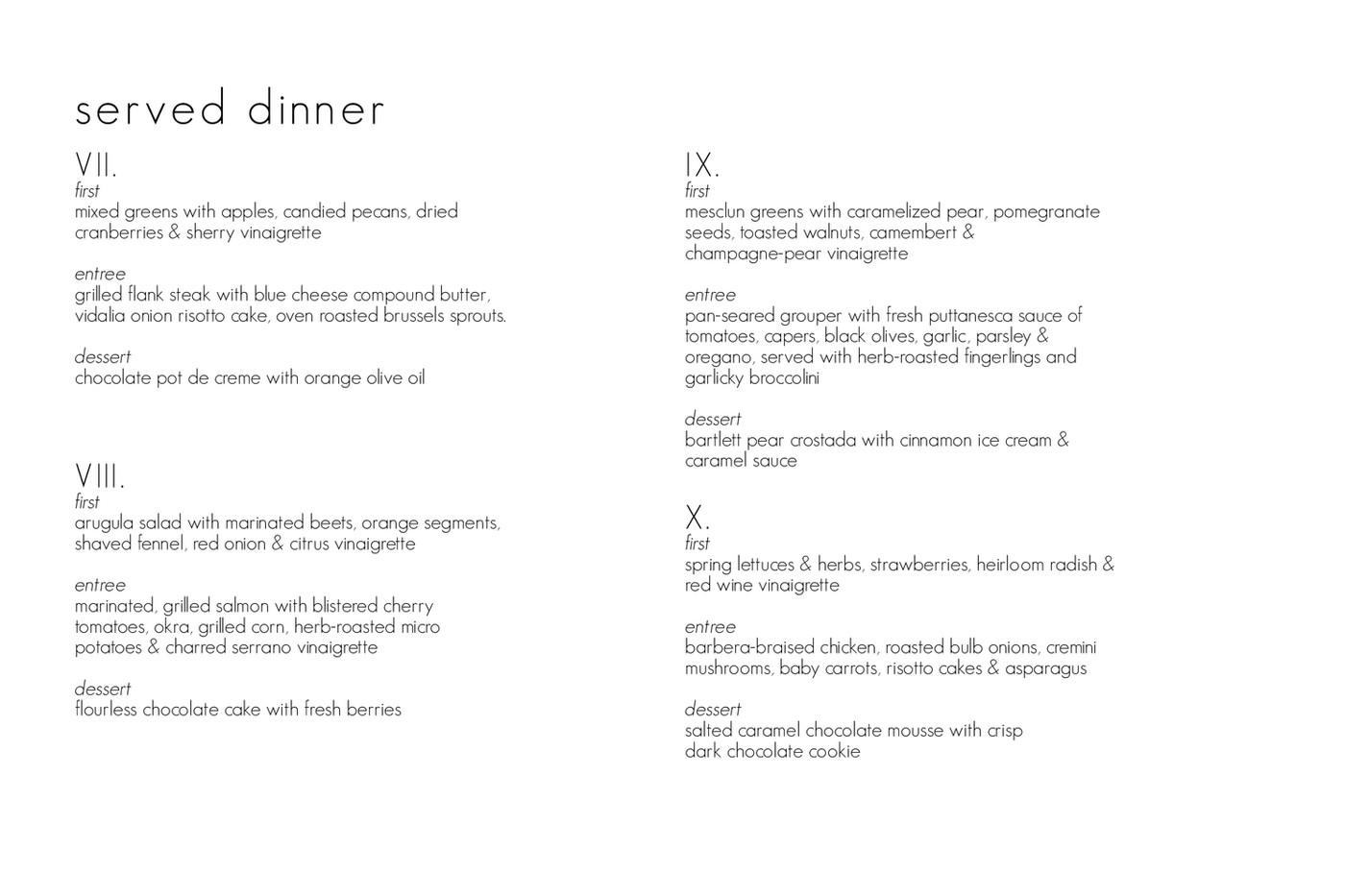 served dinner menus