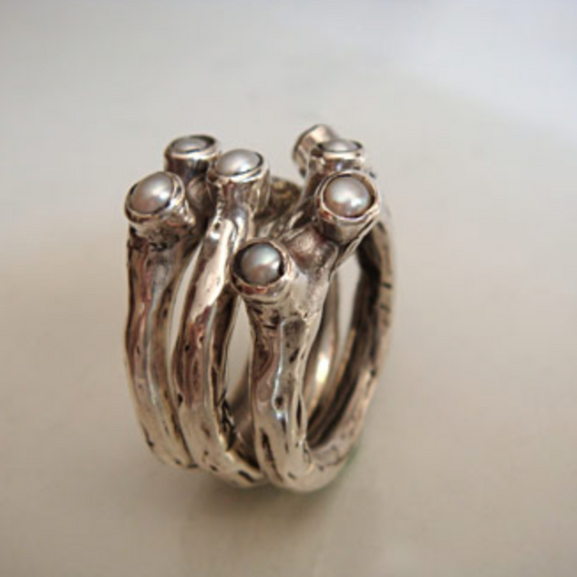 Anel triptico de prata