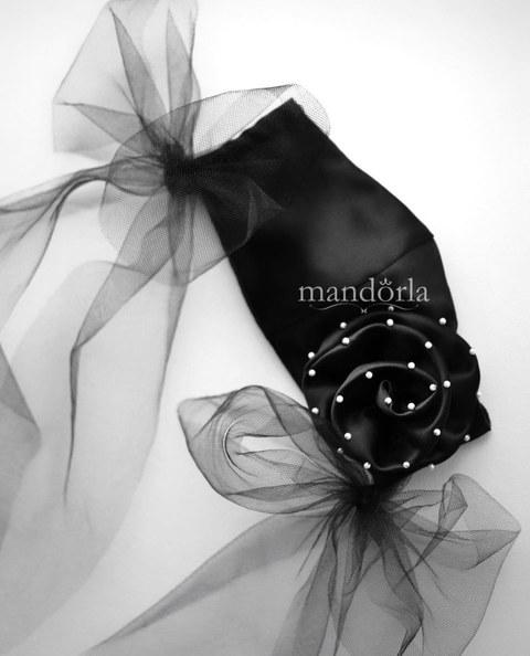 Raso francés negro, triple capa, bolsillo para filtro, flor hecha a mano, bordado a mano. Lazos de tul opcionales
