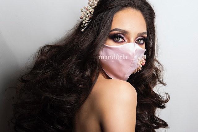 Raso francés rosa, triple capa, bolsillo para filtro, bordado a mano