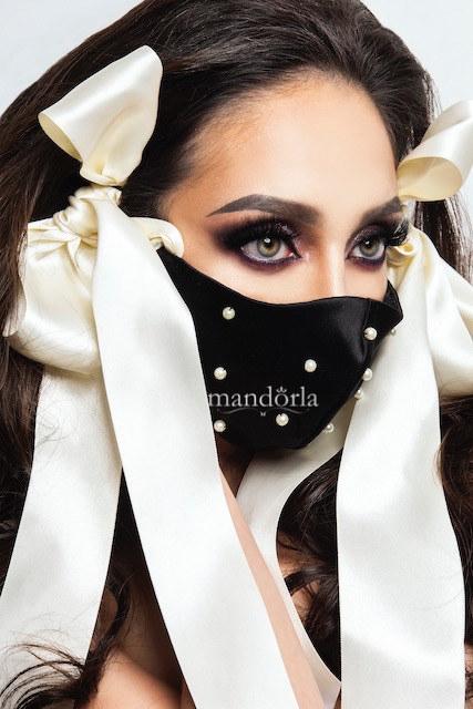 Raso francés negro, triple capa, bolsillo para filtro, bordado a mano