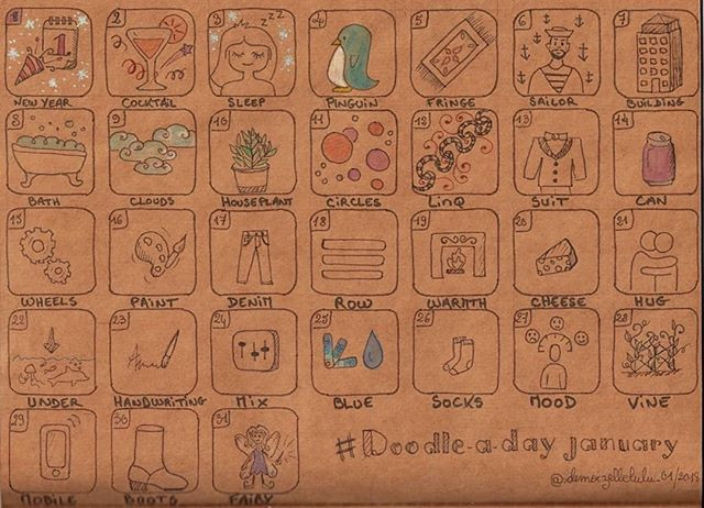 Mes doodles du mois de janvier 2018 – #adoodleadayjan